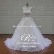 Lujo ilusión escote encaje Appliqued ver a través de espalda vestido de novia vestido de novia real
