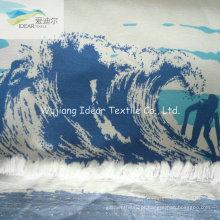 75DX200D impresso liso microfibra de poliéster tecido de pele de pêssego para calças de praia
