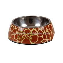 Zebras and Giraffes Portable Stainless Steel Ceramic Dog Bowl