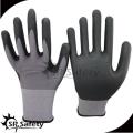 SRSAFETY cheap price/15g nylon and spandex thin foam nitrile gloves/hand gloves