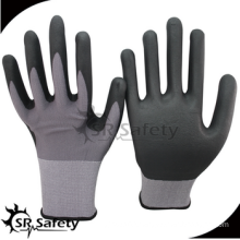 SRSAFETY cheap price/15g nylon and spandex thin foam nitrile gloves/hand gloves