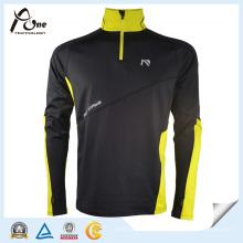 Мужской черный цвет 1/4 Zip Pullover Fitness Wear