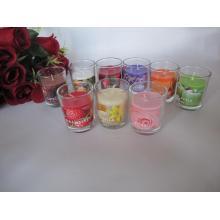 Bougie en verre parfumée colorée à longue combustion