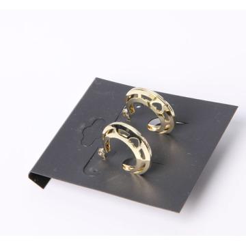 Open-Worked Circle Form Einfache Ohrringe mit Rhodium überzogen
