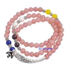 Natural Strawberry Quartz Beads Bracelet with Silver Charm (BRG0030)