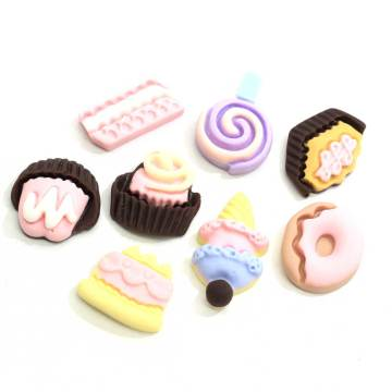 Assorted Miniature Kawaii Dessert Decor Cabochons Flatback Flat Back Cute Cake Charms Embellishment Hair Decor Supplier