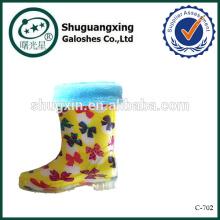 botas de lluvia mariposa zapatos niños amarillo de las flores C-702