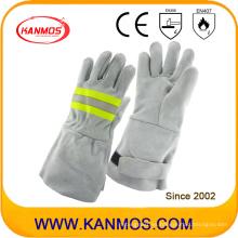 Reflejo de seguridad industrial de cuero de vaca de cuero de soldadura de trabajo mano guantes (11123)