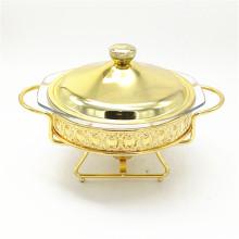 Hochwertiges Buffet Food Dekoratives Fancy / Chafing Dish mit Gold beschichtet