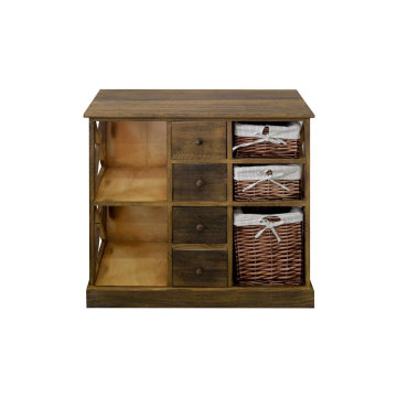 Sideboard Cupboard 4 Drawers 2 Shelves 3 Baskets Wicker Wood Fabric Brown Country Style Kitchen Bedroom