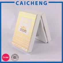 Штемпелевать золота полосы коробка подарка белой бумаги с пластиковой вставкой для масло бутылка упаковка