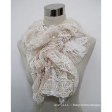 Женская мода полиэстер шарф кружева с жемчугом (YKY4383B)