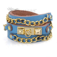 60cm Long Chain Leather Bracelets With Multi-layer Design For Men,Bohemia Leather Bracelets