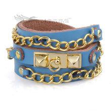 60 centímetros pulseiras de couro de cadeia longa com design de várias camadas para os homens, pulseiras de couro Bohemia