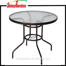 Morden Metal Round Dining Table With Glass Table Top