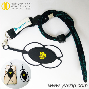 2018 Silicone Mobile Phone LOGO Black Rope Lanyard