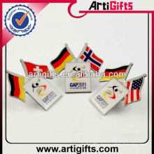 Wholesale metal country double flag pins