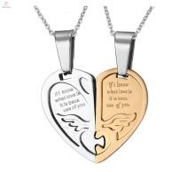 Pendentif de mode d'amour couple chinois, pendentif coeur personnalisé couple gravé Jigsaw