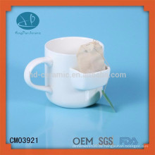 Becher mit Keks-Tasche, Becher mit Teebeutelhalter / Taschenbecher, Keramik-Teebecher mit Teebeutelhalter