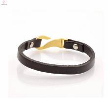 Custom Soft Leather Strap Bracelet Gold Plated Clasp