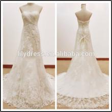 Кружева Белый милая декольте Длина пола сшитое длинные вечерние BW285 свадебные платья реальную картину