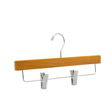 high quality Douglas fir wooden pants hanger OEM with metal clips