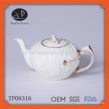 Heißer verkaufender chinesischer weißer keramischer Porzellan geprägter Teekanne mit Goldrand