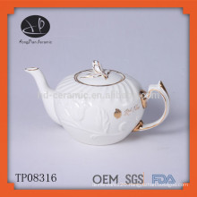 Hot selling Chinese white ceramic porcelain embossed tea pot with gold rim