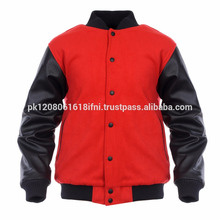 Leather sleeve red varsity jacket for men and women