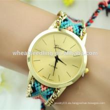Reloj de cadena étnico de la mano de las señoras de la correa de la tela del sabor DIY del más nuevo modelo