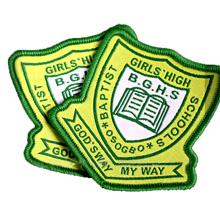Custom Brand Name Logo Merrow Border Woven Badge for School Uniform