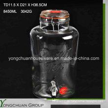 8L Big Clear Cone Glas Jar und Glas Deckel mit / ohne Metall Stand Clip Clip mit Wasserhahn