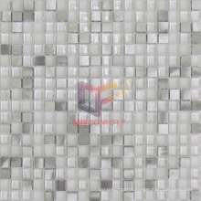 Super White Crystal Mix Silver Aluminium Mosaic Tiles (CFA73)