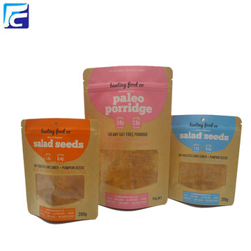 Gravure Printing Ziplock Kraft Paper Bags For Food