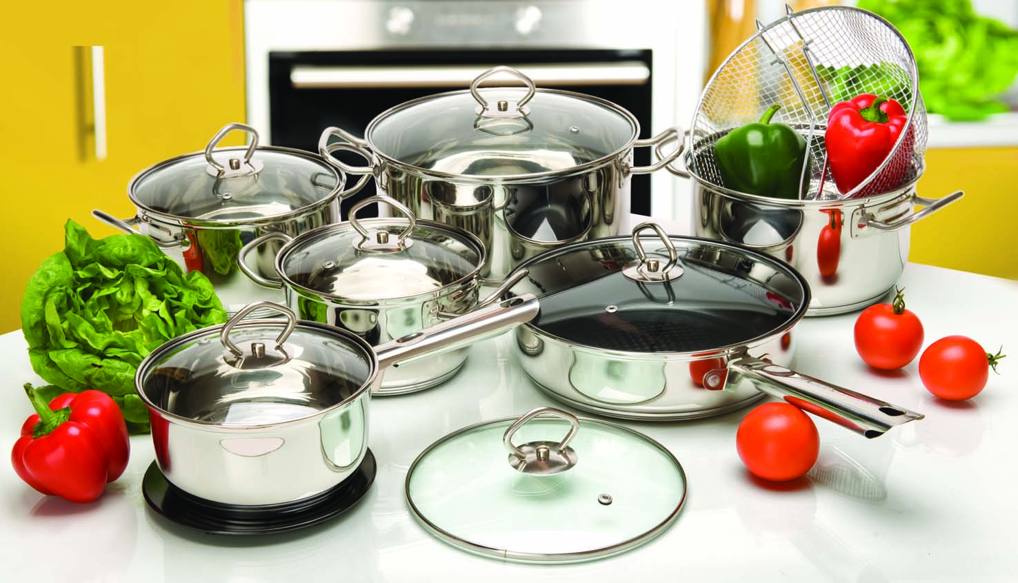 Wire handle 15pcs cookware set Poland