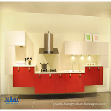 Wall Mounted Red & White Kitchen Cabinets