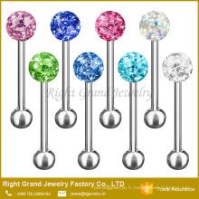 Anneaux de langue de boule de cristal disco enduits d'époxyde d'acier inoxydable de Fshion