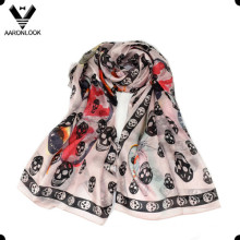 Women′s Wholesale High Quality Skeleton Head Printed Silk Scarf