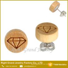 10MM natürliche Holz Ohrringe unvollendete Holz Ohrring Großhandel Holz Ohrringe