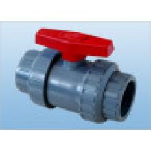 Vanne à bille CPVC, vanne à bille double double en PVC (Q61F-6S)