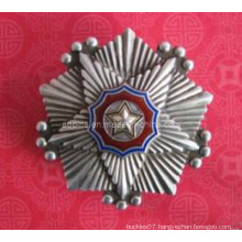 3D Antique Silver Metal Layered Police Badge (badge-095)