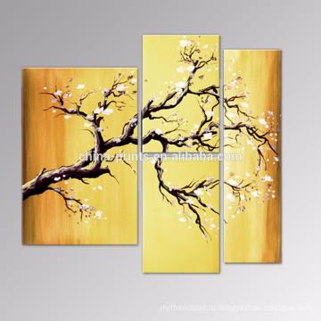 Картины Холст цветение сливы / Группа Цветок ручной работы / Современный декор стены искусства