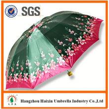 Neueste Fabrik Großhandel Sonnenschirm Print Logo Werbe 3 faltbaren Regenschirm