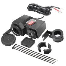 Waterproof Motorcycle DC 12V Cigarette Lighter Socket 2 USB Port 5V 2.1A/1A Charger Socket for Cellphone GPS Charging