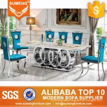 2017 new luxury modern marble top plus stainless steel legs dining table set