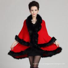 Mulheres moda acrílico de malha do falso pele inverno xale (yky4464)