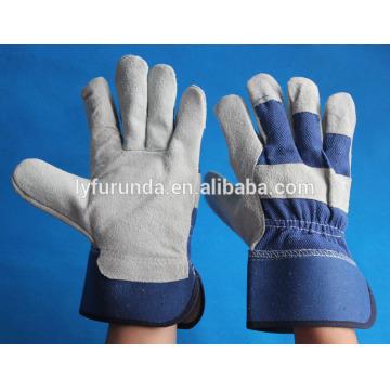 10.5 pulgadas de vaca azul dividir los guantes de cuero con palma completa para la promoción