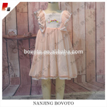 Wholesale pink flower lace easter dress