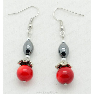 Red Coral Oval Beads hematite earring