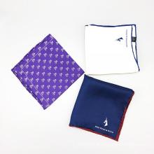 Quadrado feito sob encomenda do bolso do logotipo do canto do bordado da cópia de seda dos homens